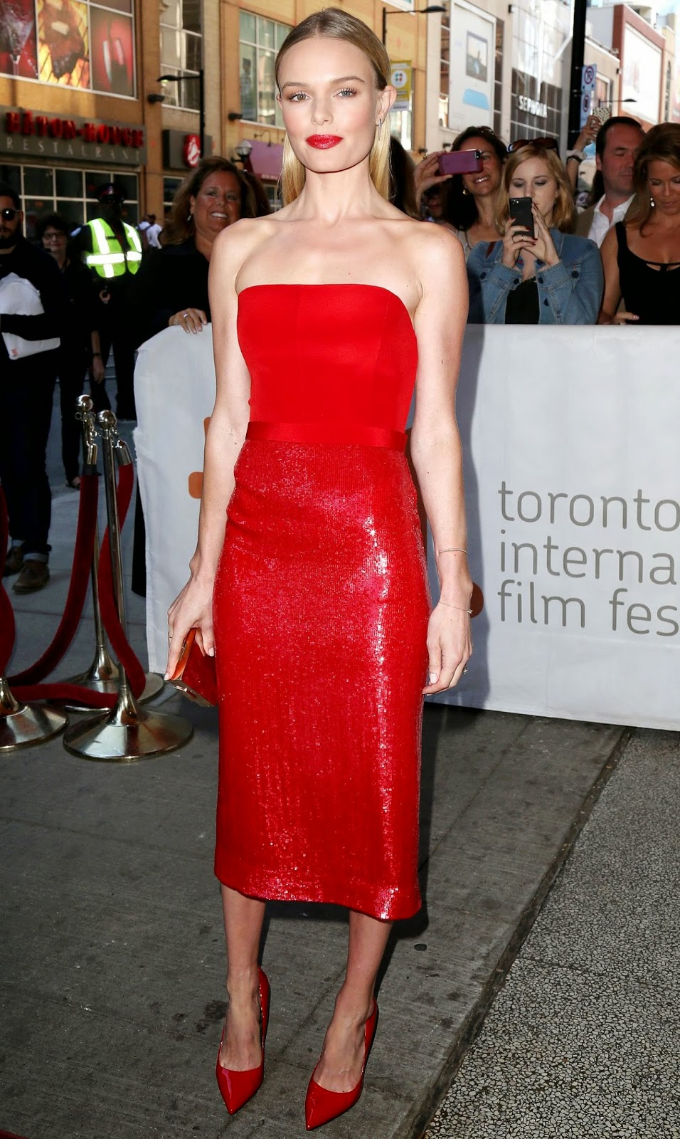 Kate Bosworth sizzles in a strapless red BOSS dress at the 'Still Alice' Toronto International Film Festival premiere