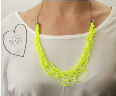 neon necklace, loop thread necklace, neon thread