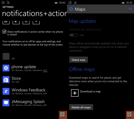 notifications and maps in windows 10 phone