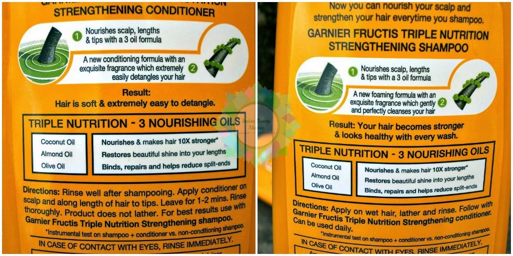 Garnier Fructis Triple Nutrition Strengthening Shampoo and Conditioner, Garnier in India, Shampoo and Conditioner, Strengthening Shampoo, SLS, Initial impression, review, swatch, Indian beauty Blogger, Hair care in India, Indian Makeup blogger