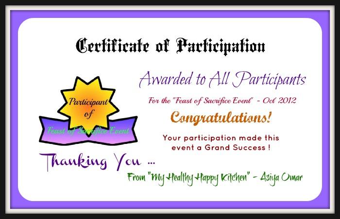 Participation Certificate   New Calendar Template Site