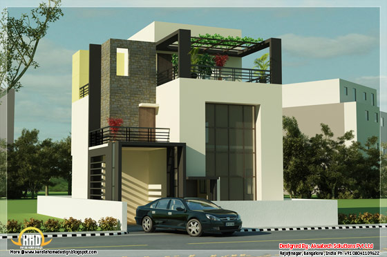 Modern contemporary house 3D render 4