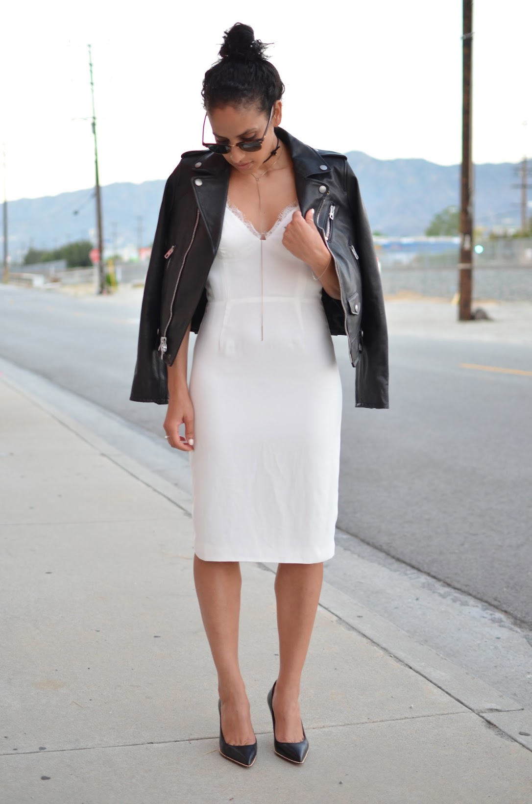 street style, Line & Dot luxe slip dress, slip dress, Coach leather moto, Coach Tamera pumps, 90's style influence, how to turn a rehearsal dinner dress into an everyday look
