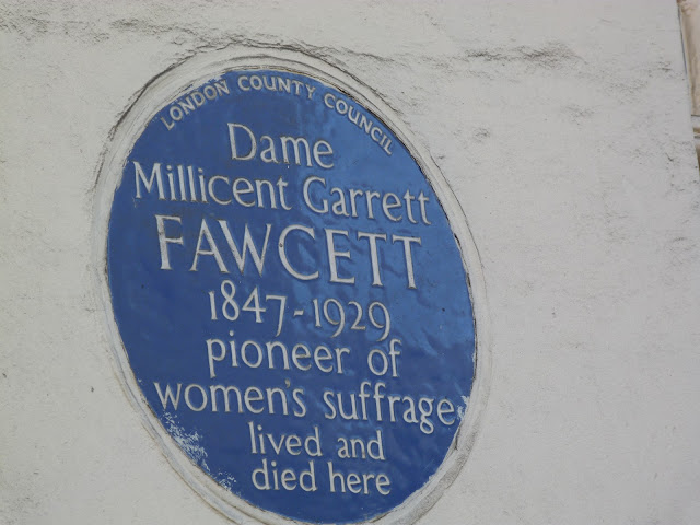 Sign showing where Dame Millicent Garrett suffragette lived.