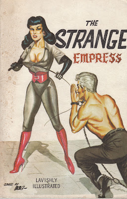 1950s pulp cover, shirtless man begging woman in dominatrix outfit