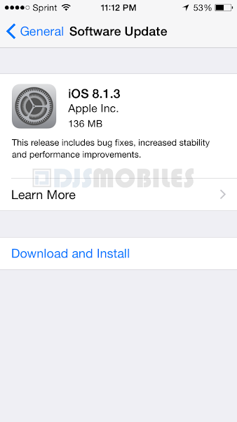 iOS 8.1.3 update on iPhone 5