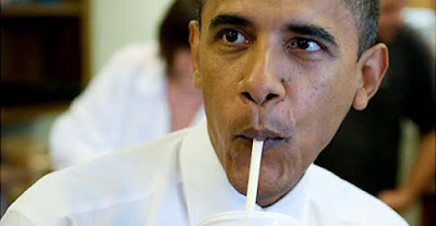 Obama drinking milkshake