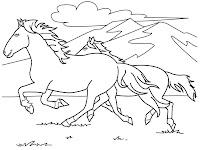 Mewarnai Gambar Kuda Liar Berlari Di Alam Bebas