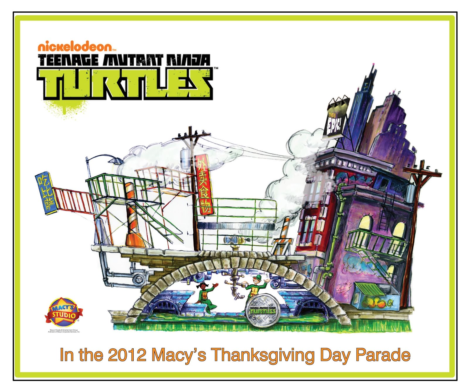 Te Teenage Mutant Ninja Turtles Tv Show - Above image initial conceptual sketch of nickelodeon s teenage mutant ninja turtles float for the 86th annual macy s thanksgiving day parade