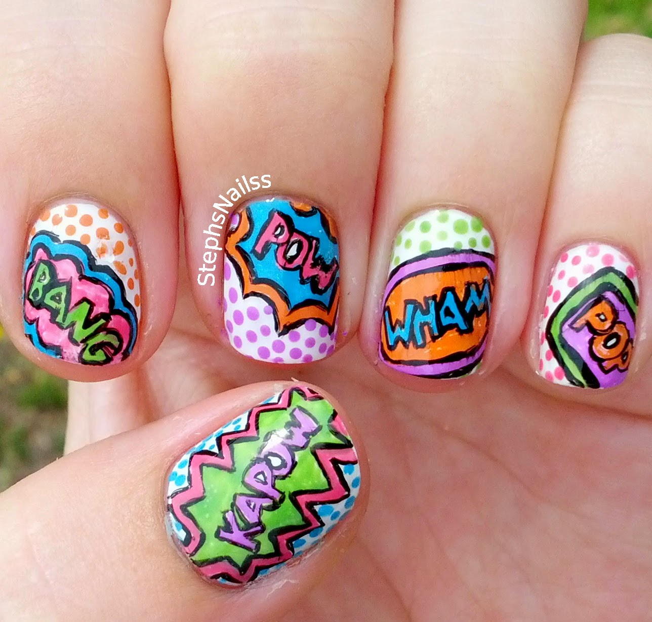 Stephsnailss Comic Book Pop Art Nails Inspired By Wondrously Polished