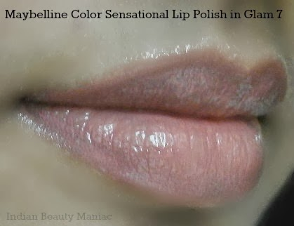 Maybelline color sensational lip polish in Glam 7 on my lips