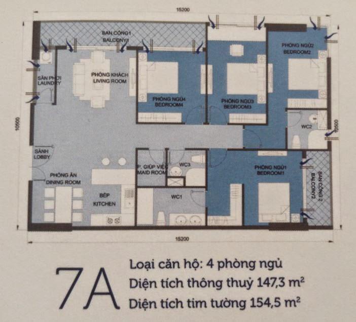 Căn hộ Vinhomes Central Park 6 - căn hộ số 7A - 154.5m2 - 4PN