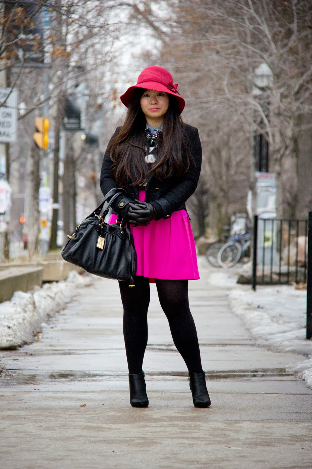 Anthropologie-Vintage-Hat, Zara-Jacket, JCrew-Hot-Pink-Skirt, LeChateau-Ankle-Boots