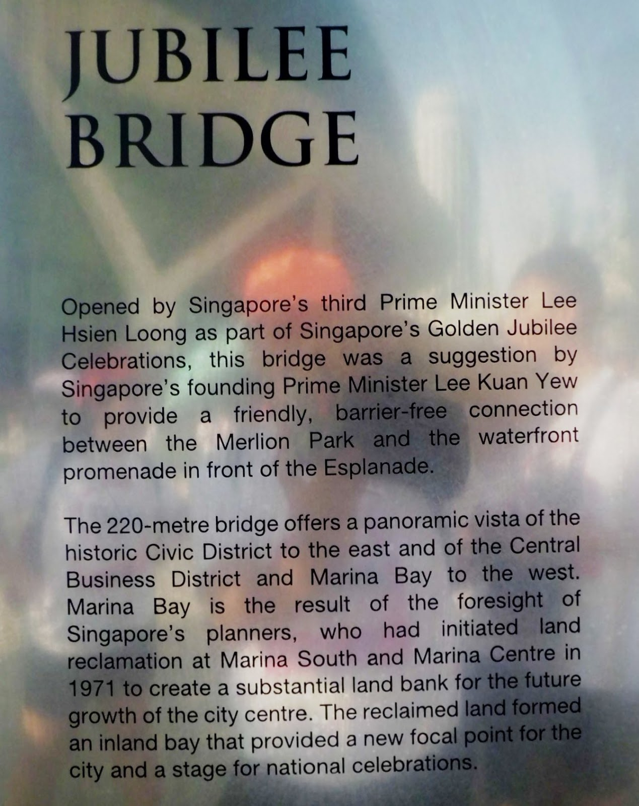 Mr Lee also launched the 220m Jubilee Bridge that connects the Merlion Park and the waterfront promenade by the Esplanade.