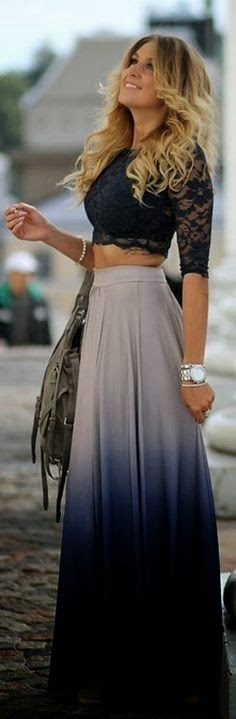 Ombre long skirt with little lace top fashion trend