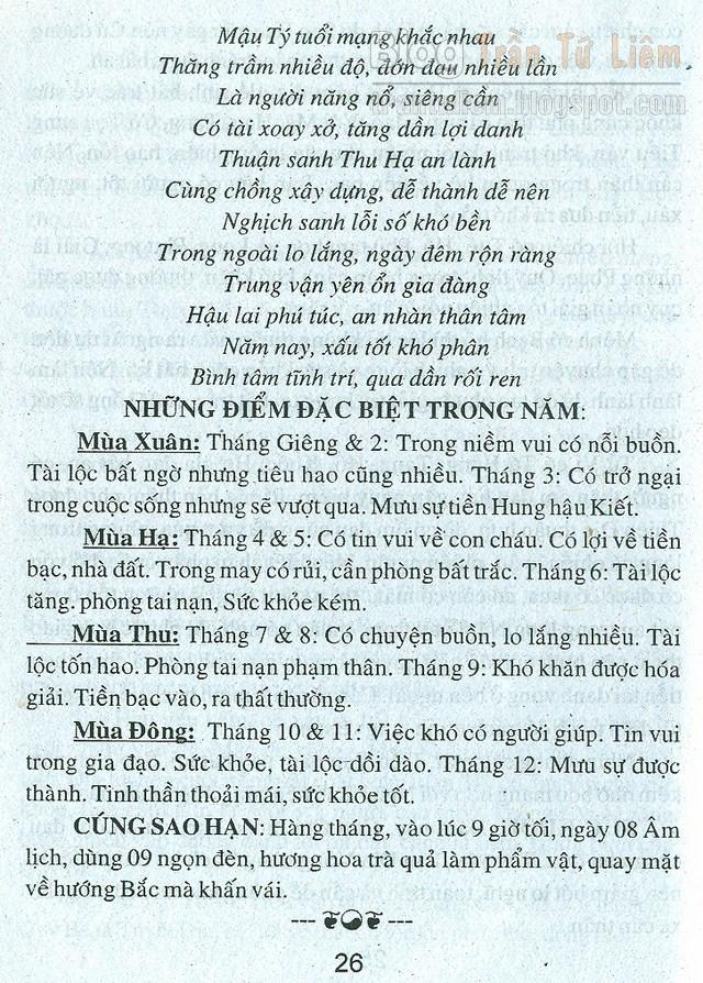 TỬ VI TUỔI MẬU TÝ 1948 NĂM 2016 Bính Thân