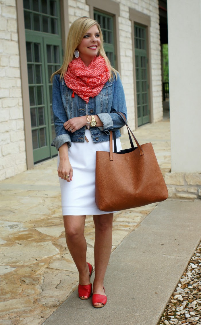weekend outfit idea with denim jacket and white dress