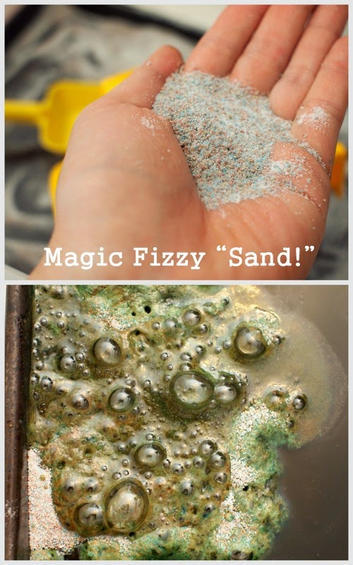 "Super easy and fun activity:  Make magic fizzy ""sand"" from 2 ingredients.  Let the kids play and then add water to make the sand fizz and bubble!  Cool science and sensory activtity."
