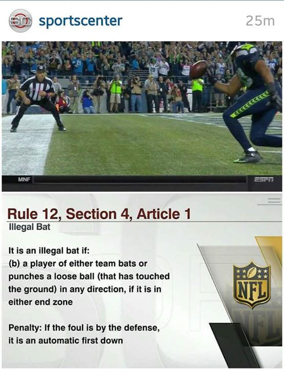 #KJWright #illegalbat #seahawks,#nfl,.- rule 12, section 4, article 1 Illegal bat