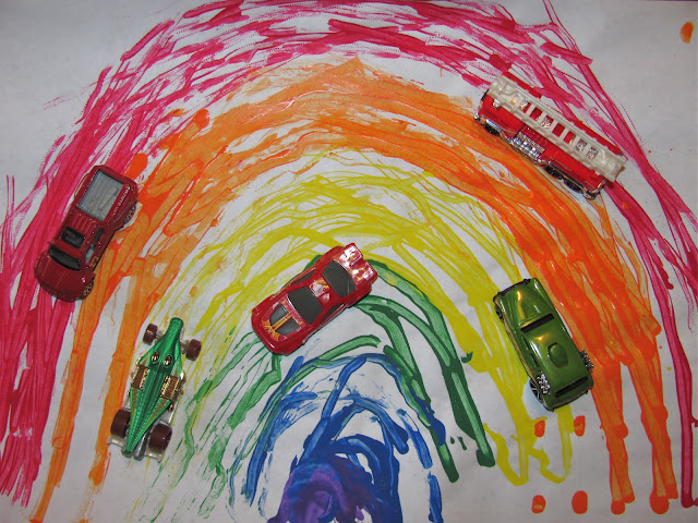 http://prekandksharing.blogspot.ca/2012/02/creating-rainbows-with-toy-cars.html