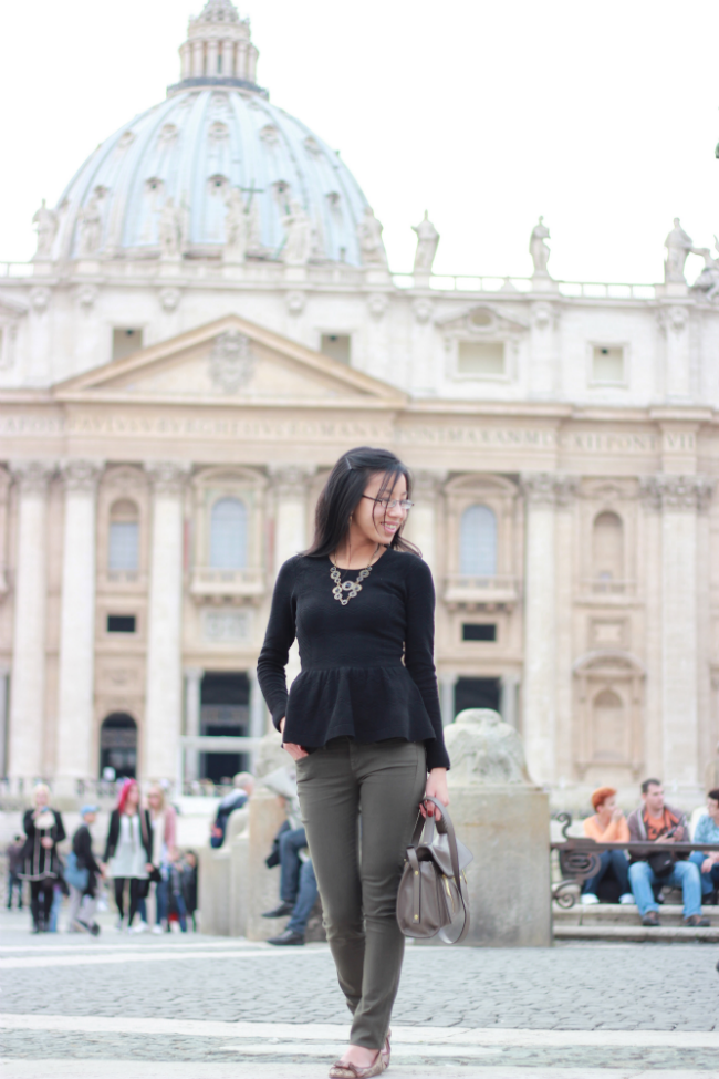 peplum sweater what to wear to church saint peters
