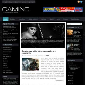 Camino blog template. download 3 column blogger template style. magazine template blogspot.