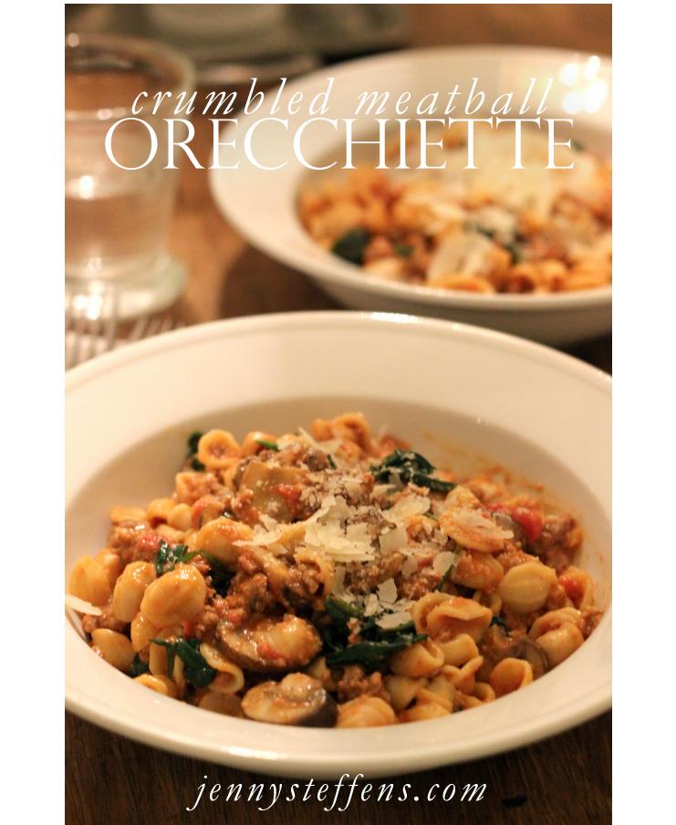 ... Orecchiette Pasta with Crumbled Meatballs in a Parmesan Tomato Sauce