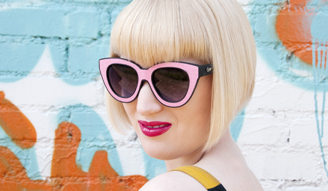 Quay eyewear, pink, sunglasses, comic