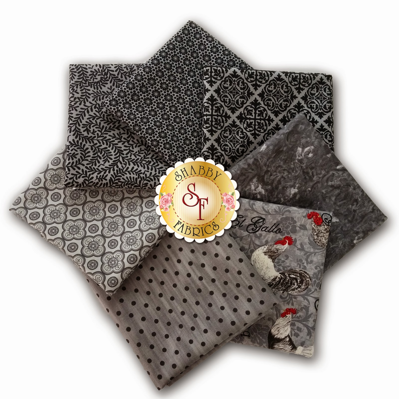 Charcoal El Gallo 7 Fat Quarter Set