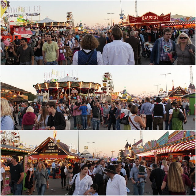 It's getting crowded at Octoberfest Festival in the late afternoon at Munich, Germany