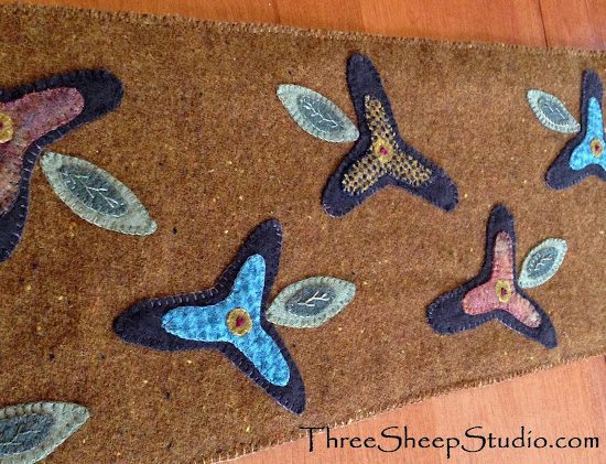Punch Needle and Wool Applique by Rose Clay at Three Sheep Studio