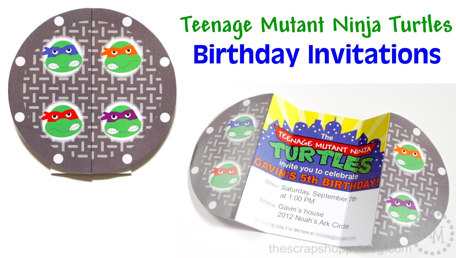 Teenage Mutant Ninja Turtles TMNT Birthday Invitations The Scrap