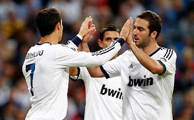 Cristiano Ronaldo and Higuain celebrate their goals against Celta