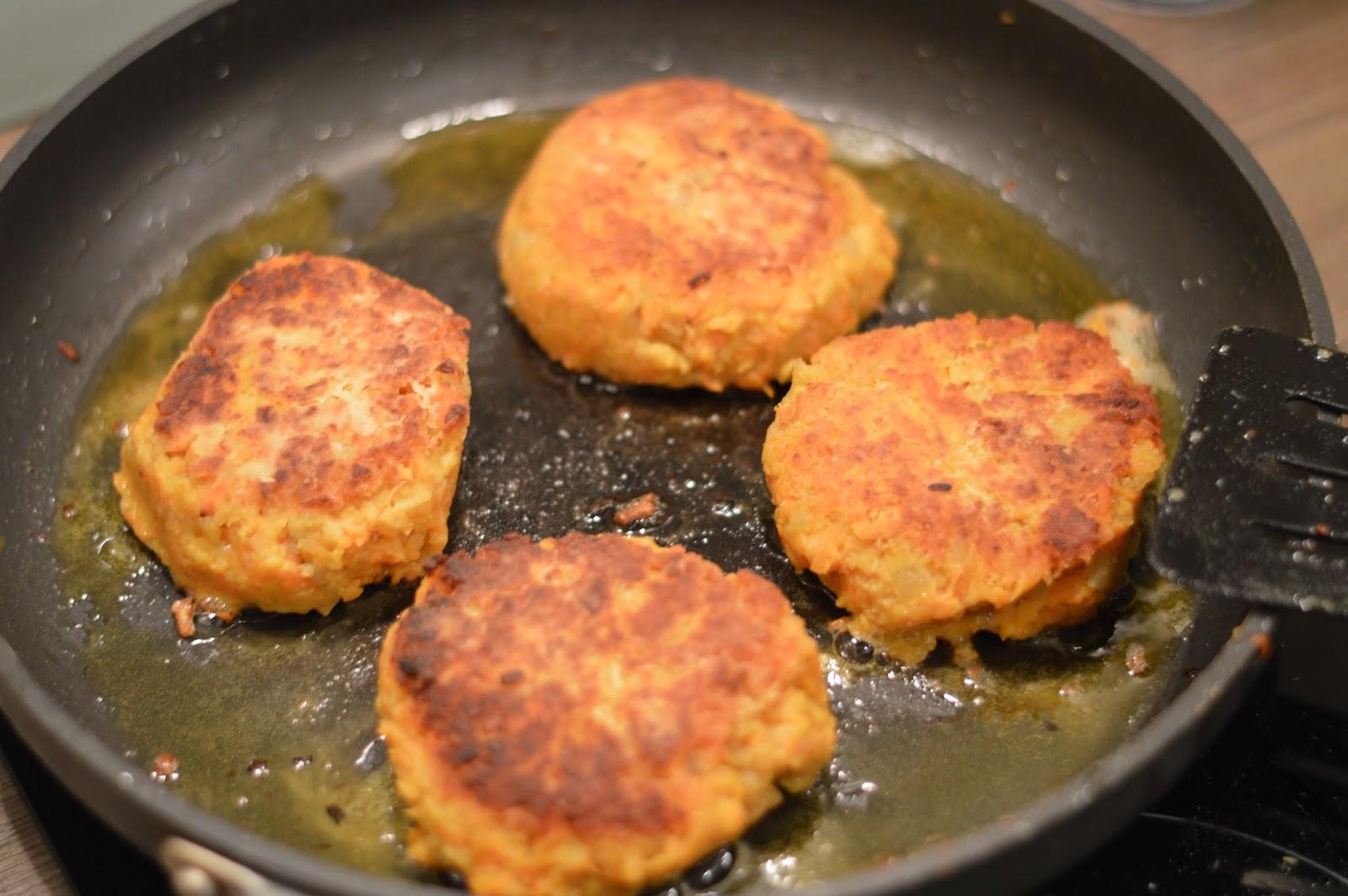 Frying sweet potato and chickpea cakes burgers patties vegetarian recipe