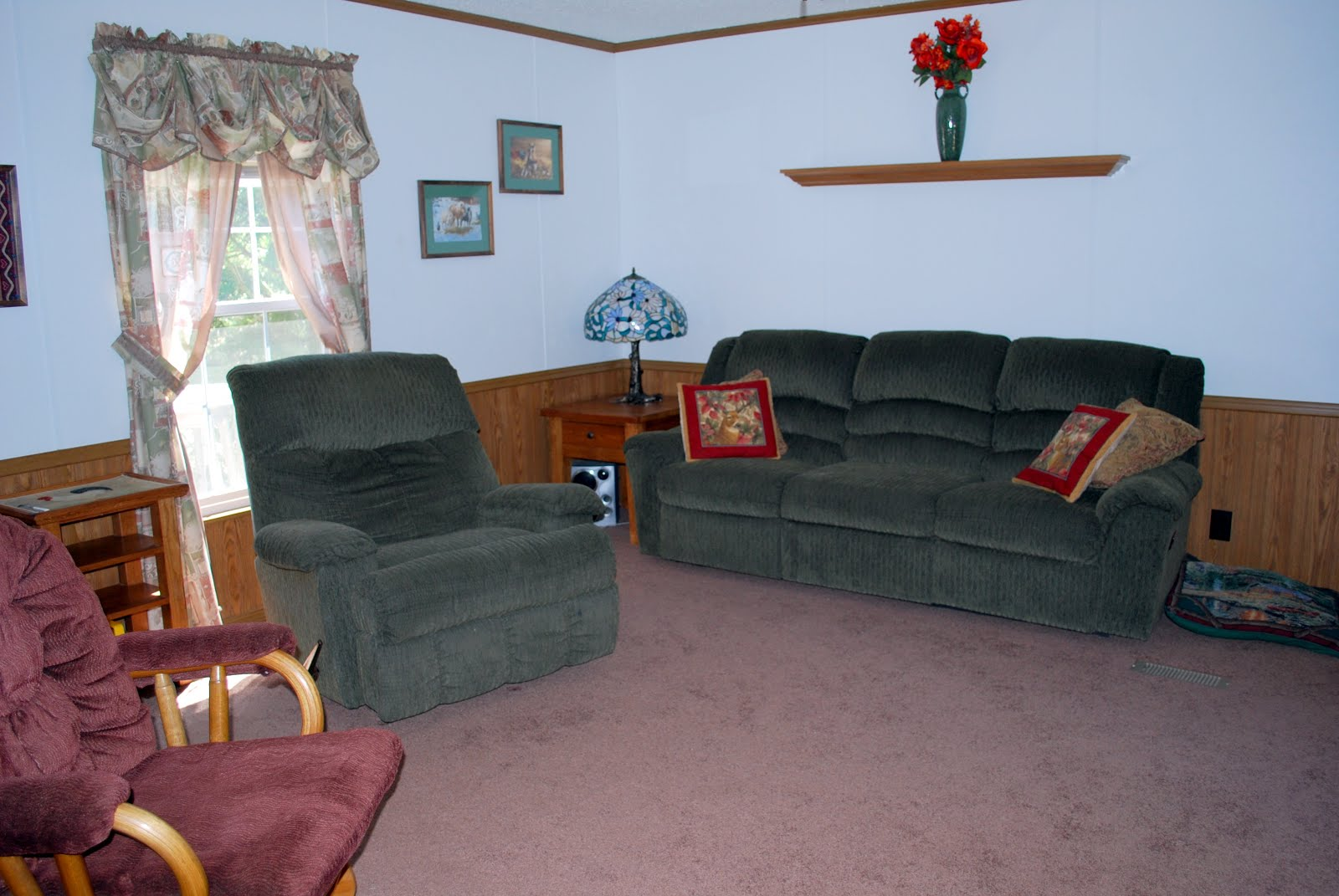 Cottage has living room, Kitchen, 2 bedrooms and large bath.