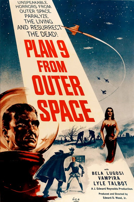 classic posters, free download, free printable, graphic design, movies, printables, retro prints, theater, vintage, vintage posters, vintage printables, Plan 9 From Outer Space - Vintage Sci Fi Movie Poster