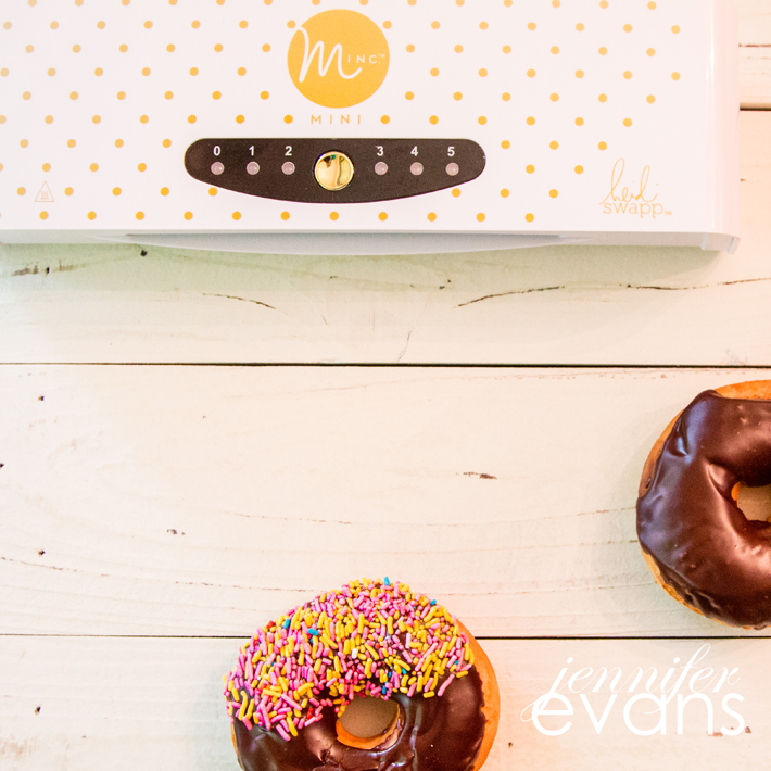 Free Donut DIY Minc printable! Just print on a laser printer and run through the @heidiswapp Minc to foil it!  by @createoften
