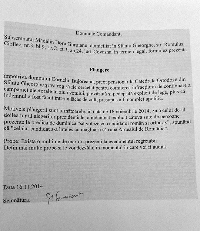 államelnök-választások, Románia, Sepsiszentgyörgy, politika, vallás, Mădălin Guruianu,