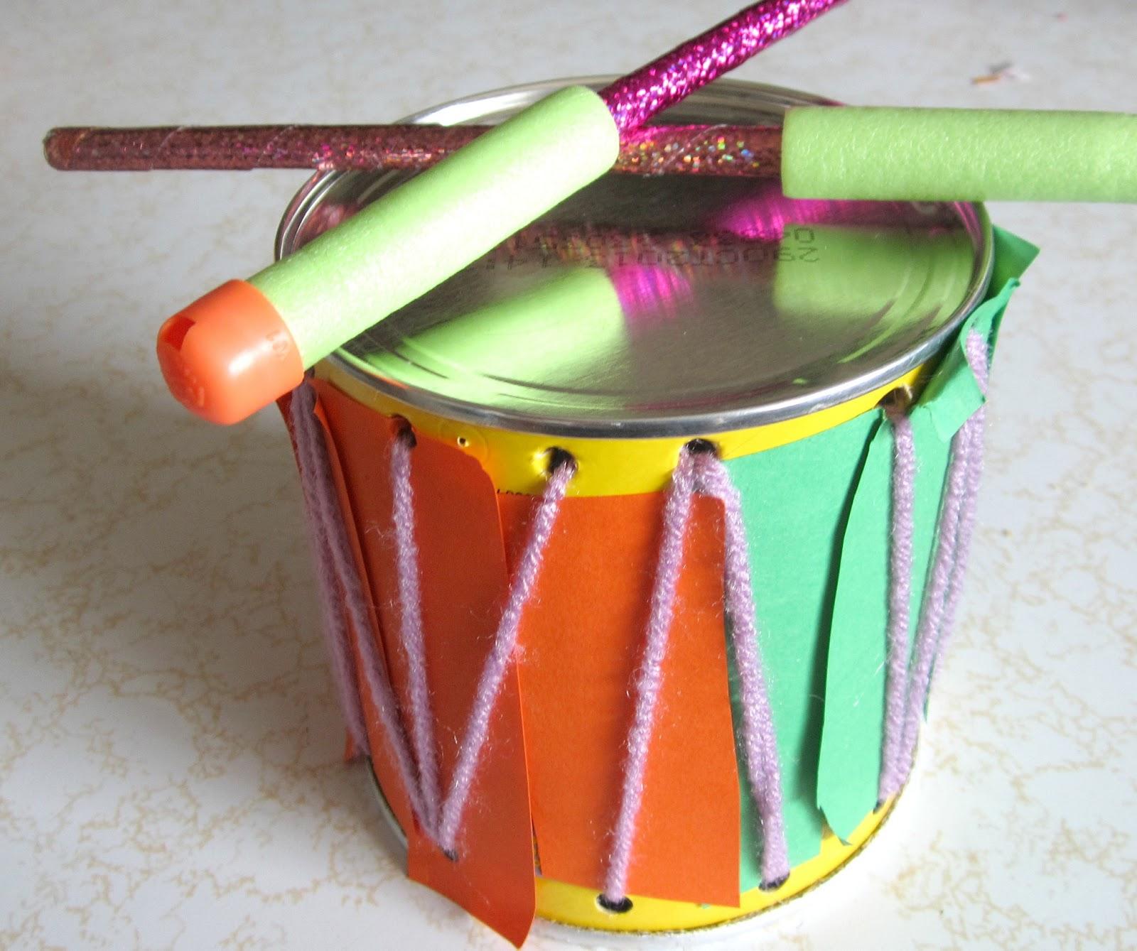 crafty couple how to make a drum musical instrument set for kids. Black Bedroom Furniture Sets. Home Design Ideas