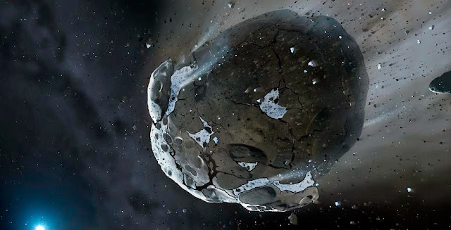 Artist's impression of a rocky and water-rich asteroid being torn apart by the strong gravity of the white dwarf star. Similar objects in the Solar System likely delivered the bulk of water on Earth and represent the building blocks of the terrestrial planets. Credit: Mark A. Garlick, space-art.co.uk, University of Warwick