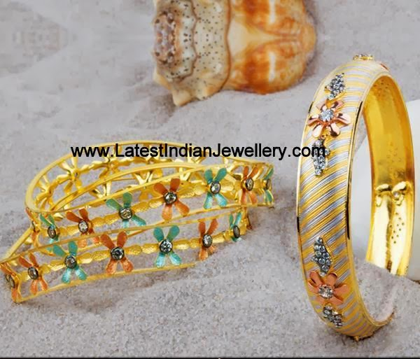 Rhodium Polish Gold Bangles