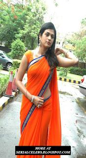 Shradda Das in Orange Low Hip Saree