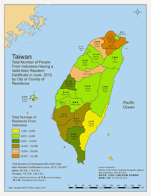 2012 Distribution of Indonesians in Taiwan