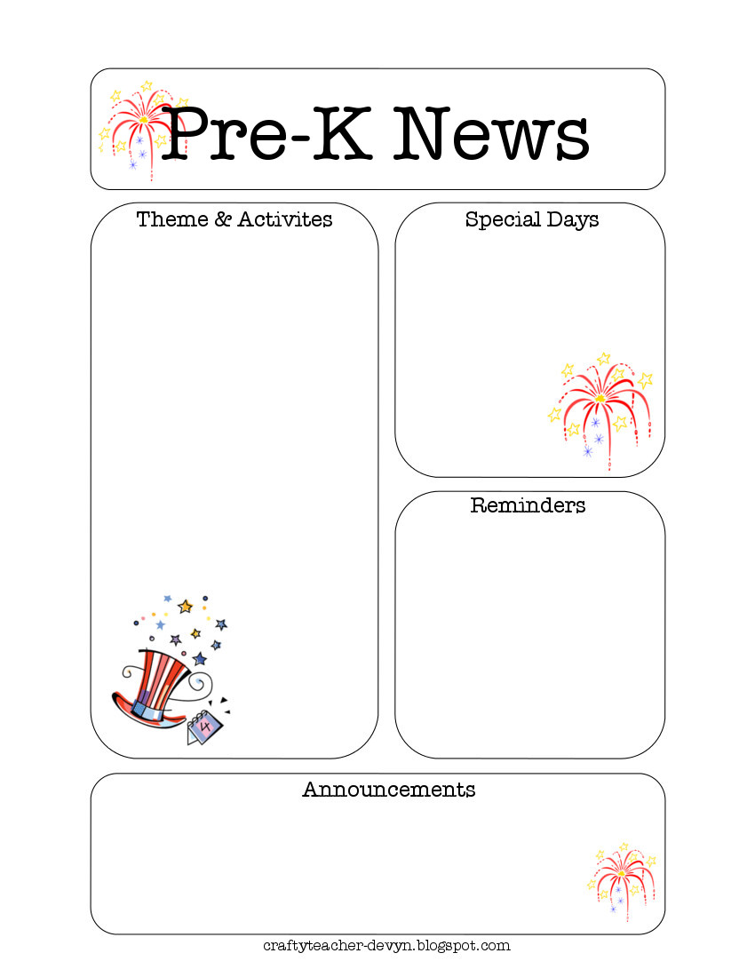 pre k newsletter templates for free