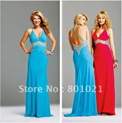 Custom Made 2014 Summer Chiffon Empire Christmas Low V-Neck Elegant Blue Prom Dress