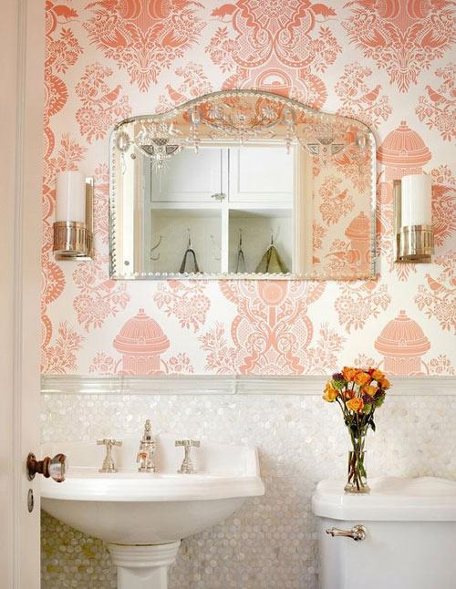 Ba os vintage wallpaper i pompas de ideas for Vintage bathroom wallpaper designs