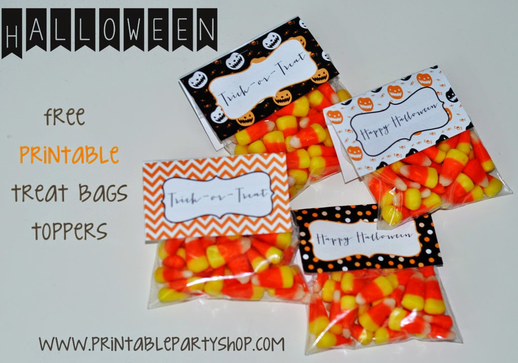 Halloween Free Printable Candy Bags Toppers.