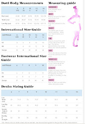 Dotti Size Chart