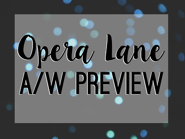 "Bokeh style lights behind text reading ""Opera Lane A/W Preview"""