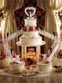 white cakes with couples